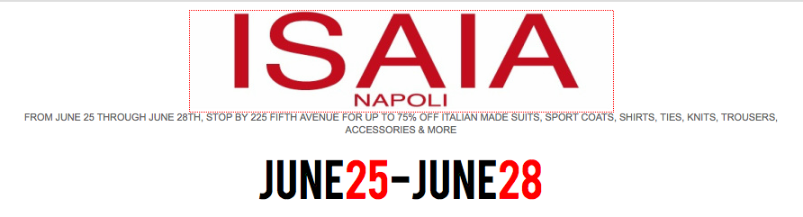 Isaia Napoli Sample Sale : New York City