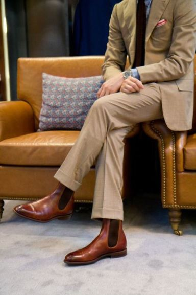 Khaki-suit-and-Brown-Boots